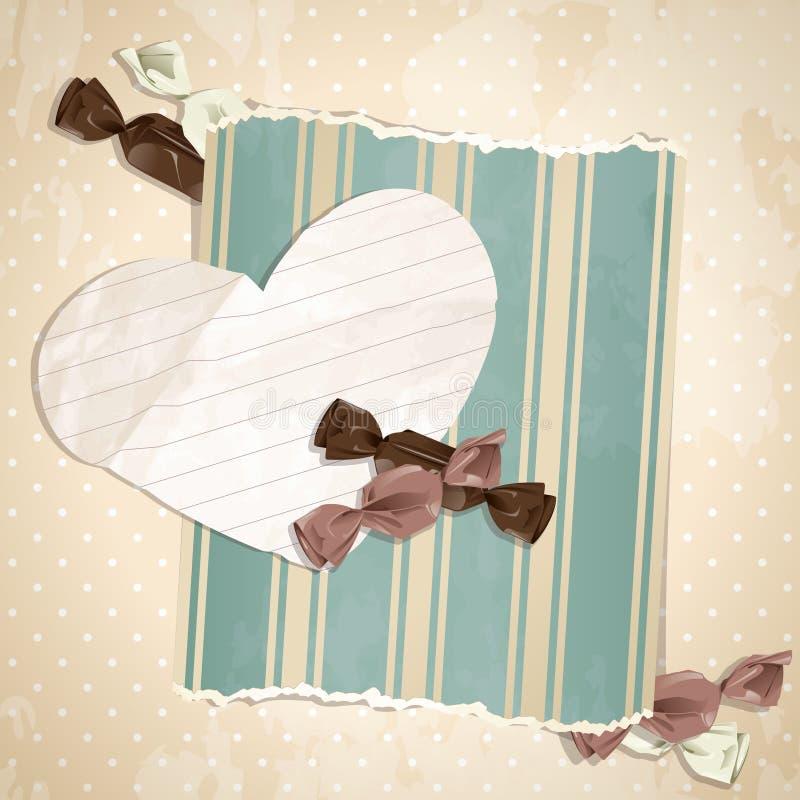 Illustration beige romantique de cru avec des sucreries illustration stock