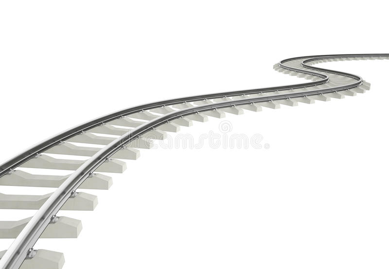 Illustration bend, turn railroad isolated on white. Background. 3d high resolution image royalty free illustration