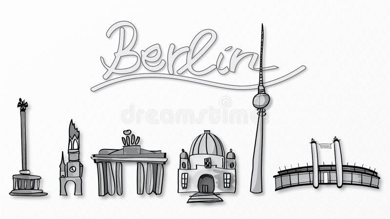 Illustration of Berlin landmarks stock photography