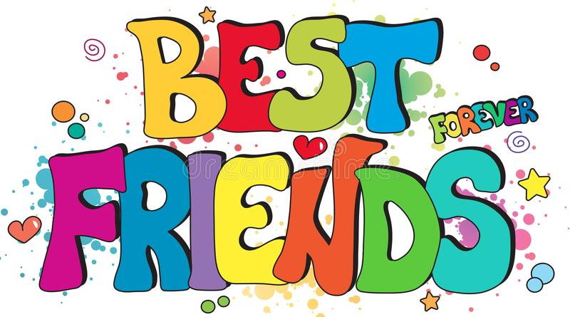 Best friends forever. Illustration with best friends forever written stock illustration