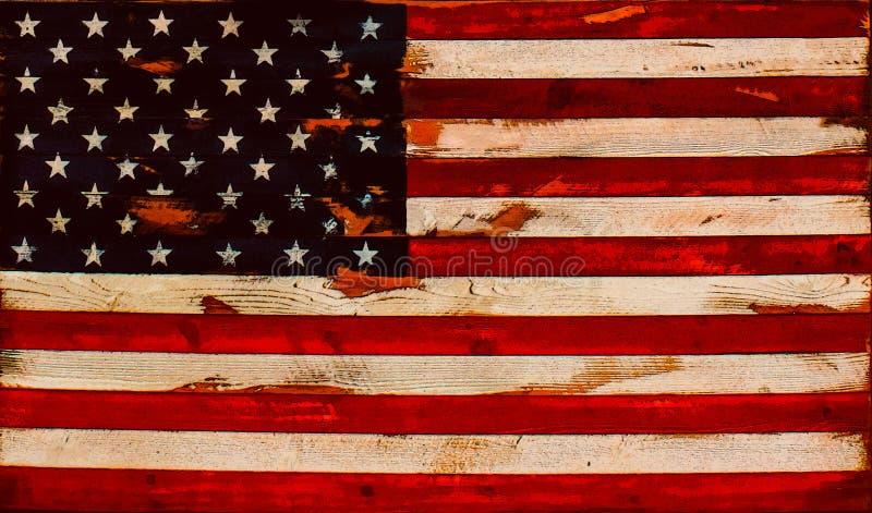 Illustration - beunruhigte amerikanische Flagge von alten Brettern - Hintergrund oder Element lizenzfreie abbildung