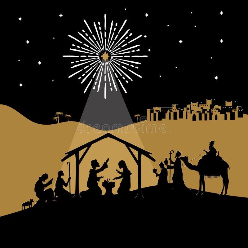 Illustration biblique Histoire de Noël Mary et Joseph avec le bébé Jésus Scène de nativité près de la ville de Bethlehem illustration stock