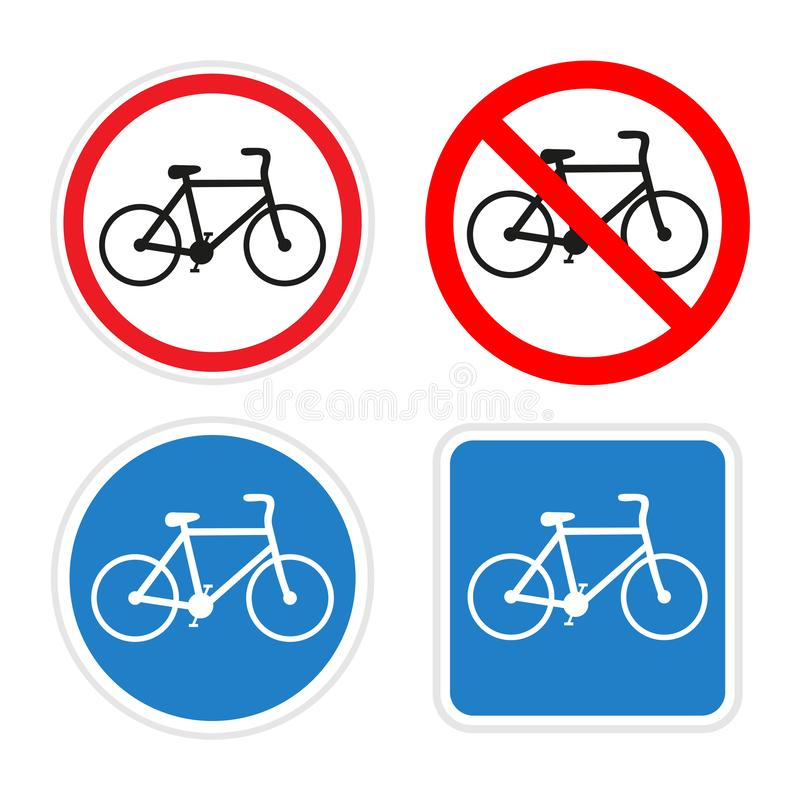 Illustration of bicycle traffic signs on a white background stock photography
