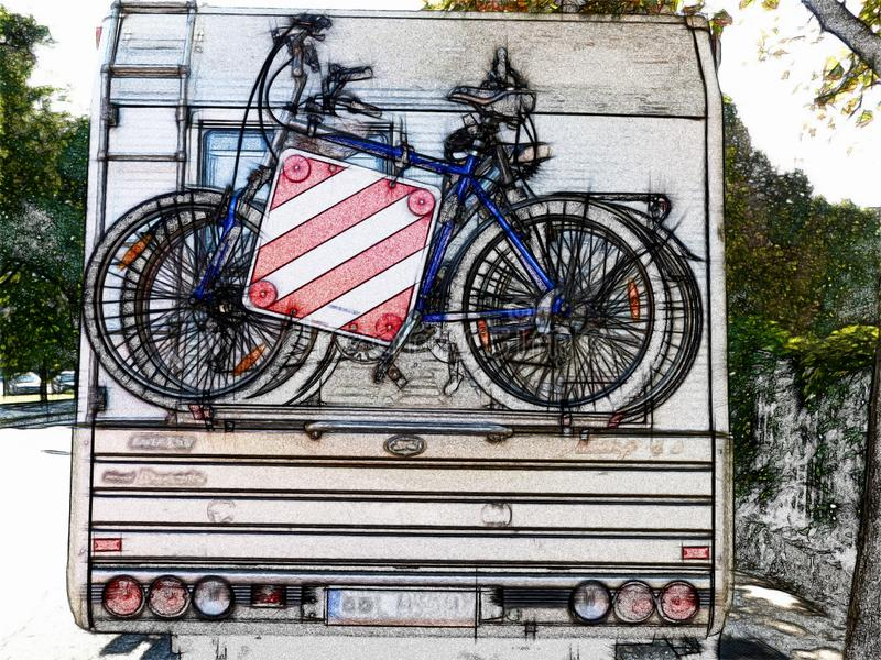 Illustration of bicycles on carrier rack on the back of camper van stock images