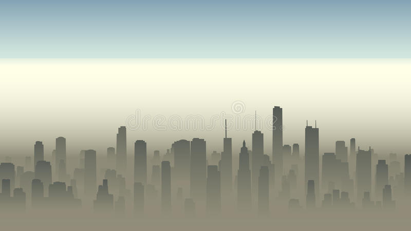 Illustration of big city in haze. Vector horizontal illustration of big city with skyscrapers in haze stock illustration