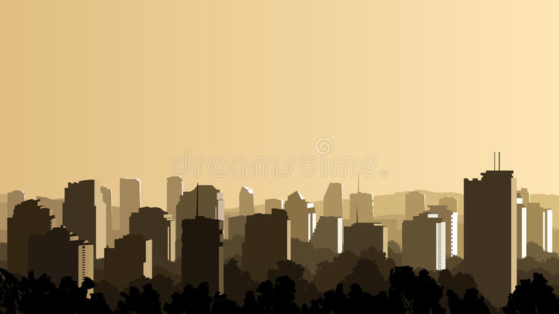 Download Illustration Of Big City At Sunset. Stock Vector - Image: 31241283