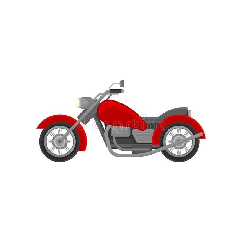Big old-school motorcycle, side view. Red vintage motorbike. Flat vector element for advertising poster or banner royalty free illustration