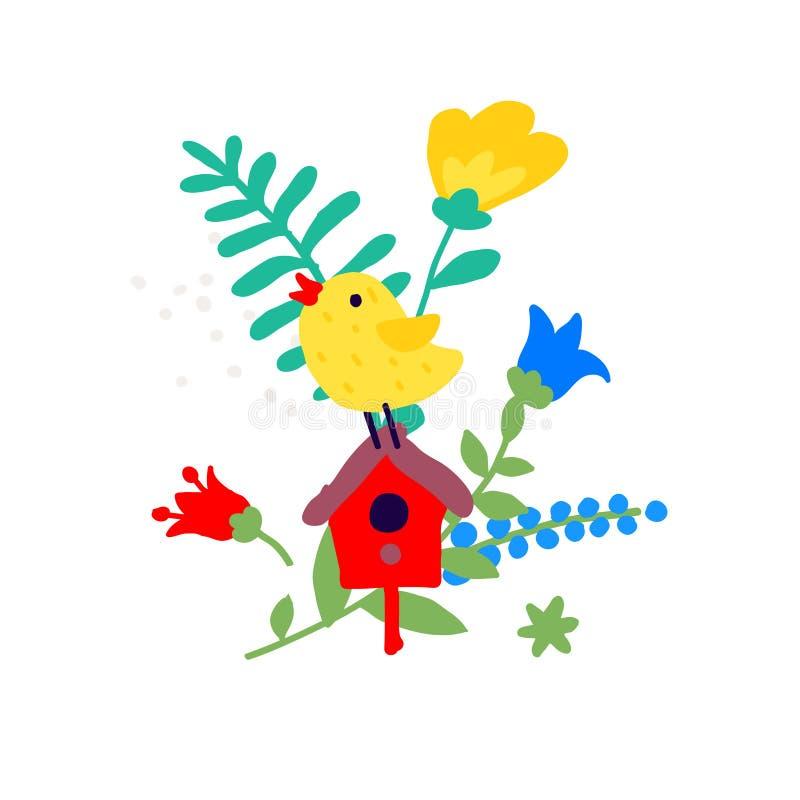 Illustration of a bird on a birdhouse among the lights. Vector. Ikebana bouquet. Children`s cartoon, doodle style. Illustration. For kindergarten or club royalty free illustration