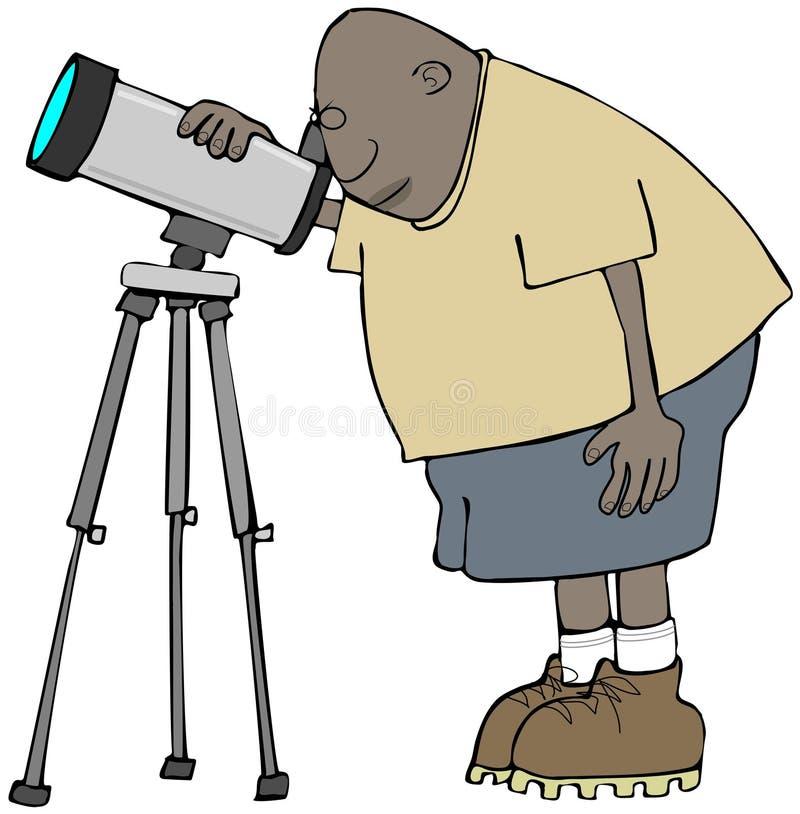 Ethnic amateur astronomer royalty free illustration