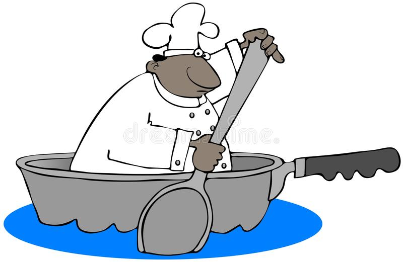 Ethnic chef paddling in a giant frying pan stock illustration