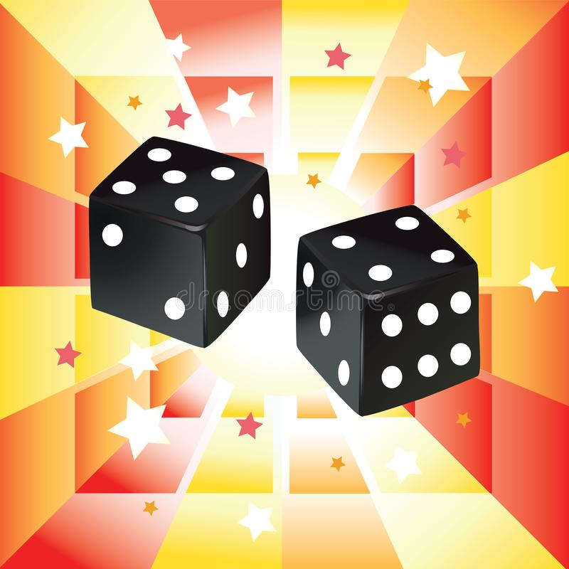 Illustration of black dices on abstract background. stock photos