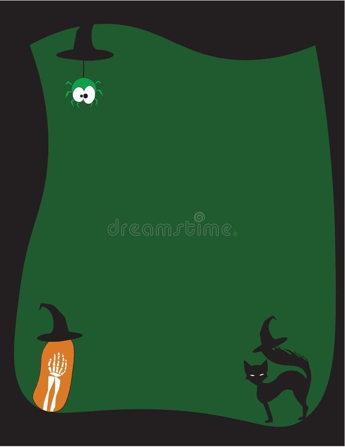 Black Halloween Frame over green background vector illustration