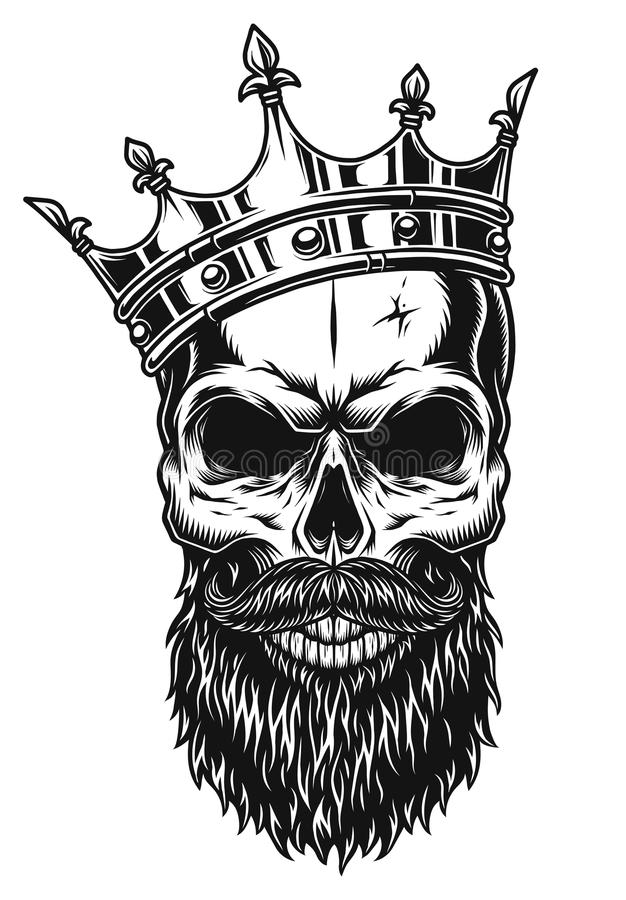 Illustration of black and white skull in crown with beard stock illustration