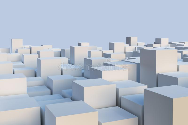 Illustration blanche abstraite de cuboïdes ou de cubes La géométrie ou architecture ou papier peint ou fond conceptuel d'horizon  illustration de vecteur