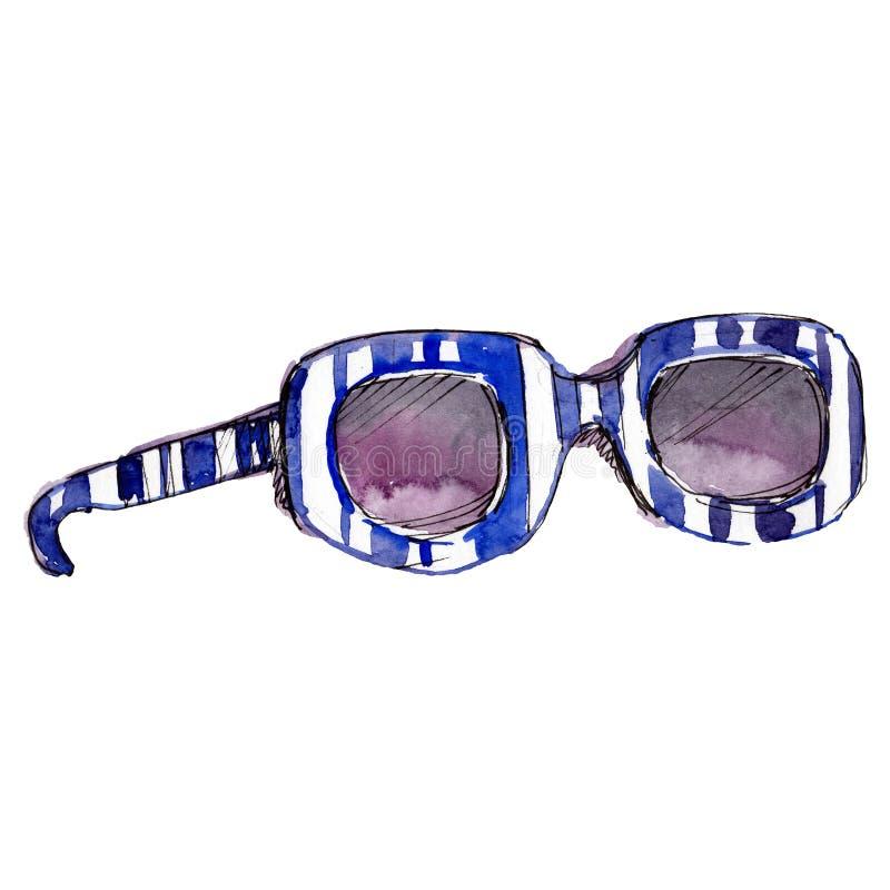 Illustration blanche bleue de charme de croquis de lunettes de soleil dans un élément d'isolement par style d'aquarelle Fond pour photographie stock libre de droits
