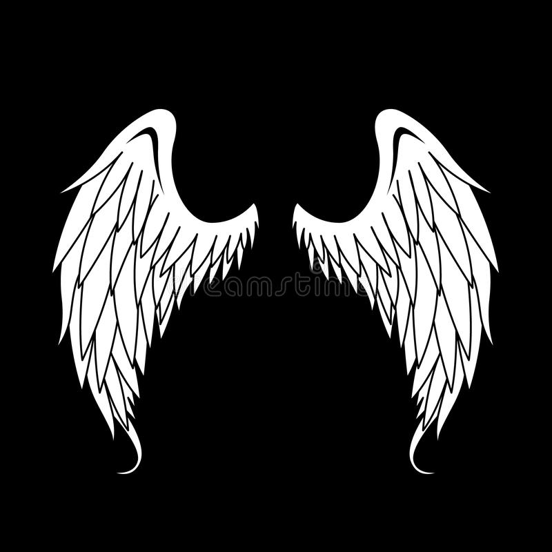Illustration blanche d'Angel Wings Vector images libres de droits