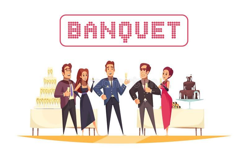 Illustration blanche de bande dessinée de fond de banquet illustration stock