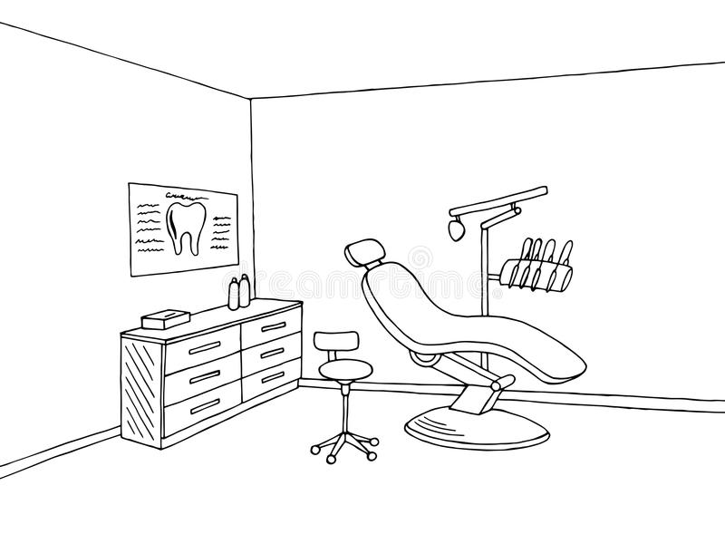 Illustration blanche de croquis de noir de l'industrie graphique de clinique de bureau de dentiste illustration de vecteur