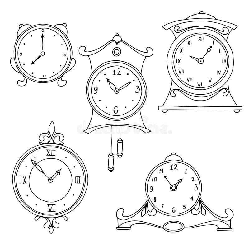 Illustration blanche de croquis de noir réglé d'art de graphique d'horloge illustration de vecteur