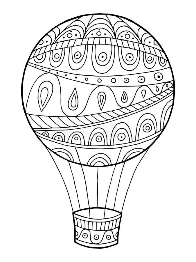 Illustration blanche de griffonnage de noir de l'industrie graphique d'abrégé sur modèle de ballon à air illustration de vecteur