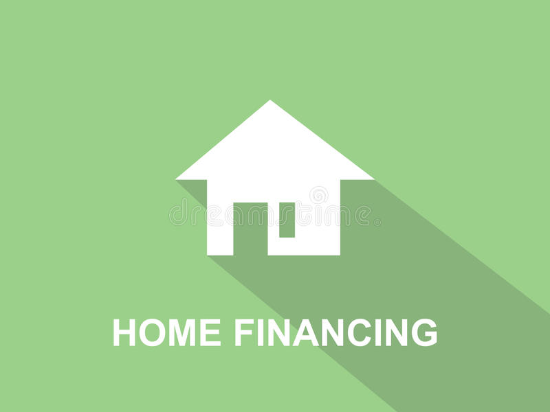 Illustration blanche des textes de financement à la maison avec la silhouette blanche de maison et le fond vert illustration libre de droits