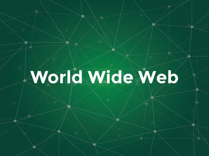 Illustration blanche des textes de World Wide Web avec la carte verte de constellation comme fond illustration de vecteur