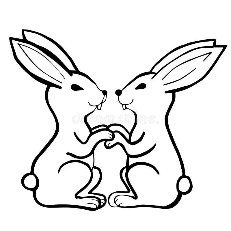 Illustration blanche noire de vecteur avec deux lapins photographie stock