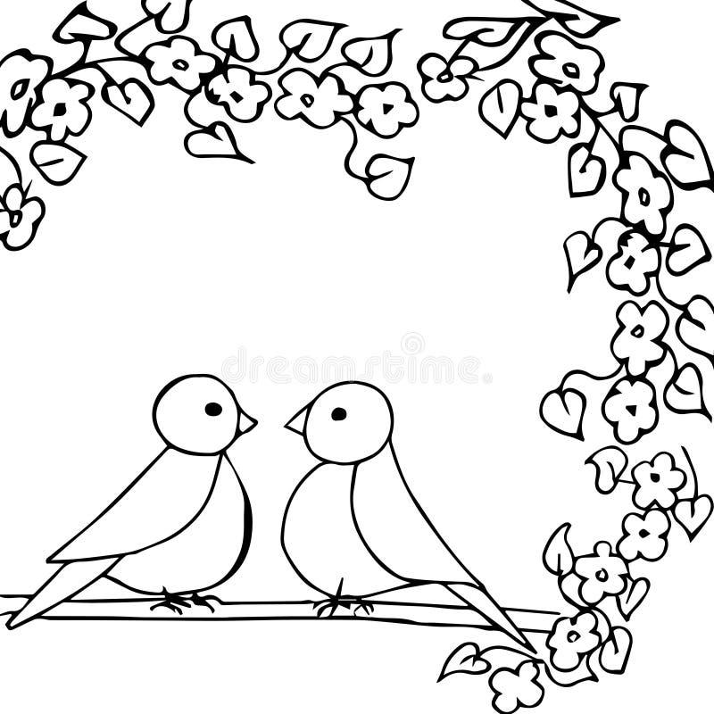 Illustration blanche noire de vecteur avec deux oiseaux image stock