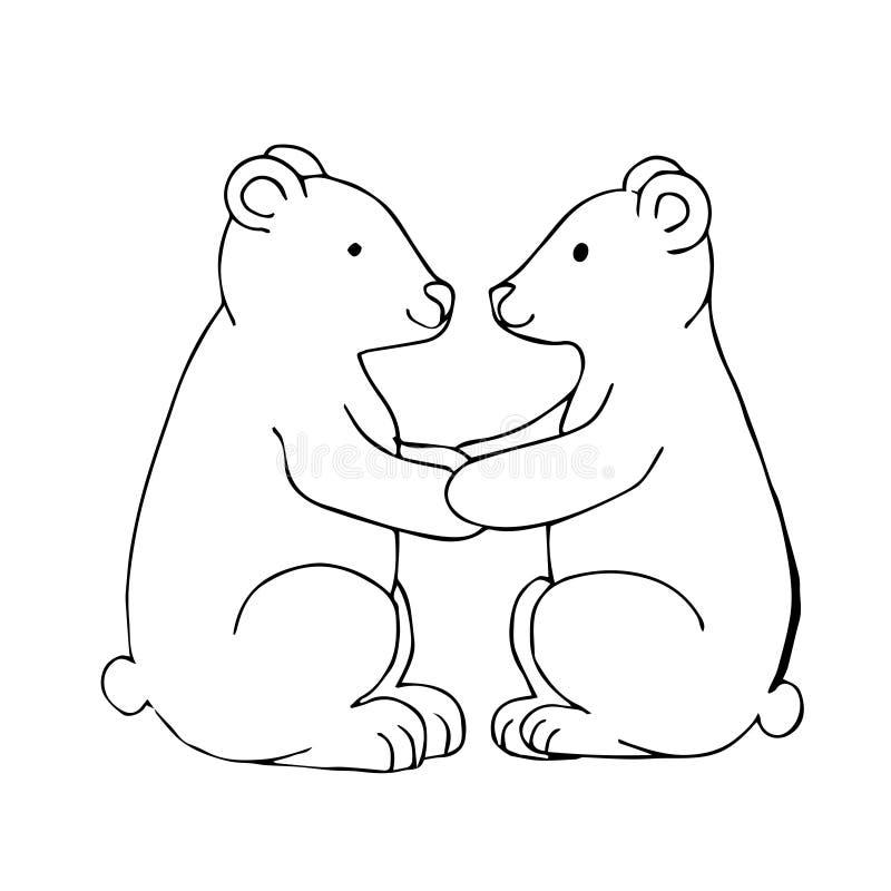 Illustration blanche noire de vecteur avec deux ours illustration libre de droits