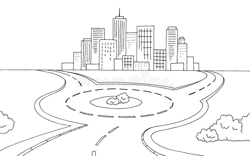 Illustration blanche noire graphique de croquis de paysage de route de rond point illustration stock