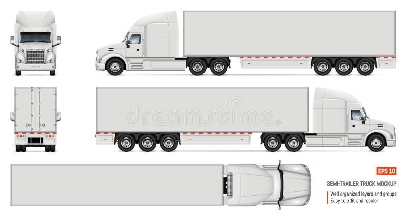 Illustration blanche réaliste de vecteur de camion illustration stock