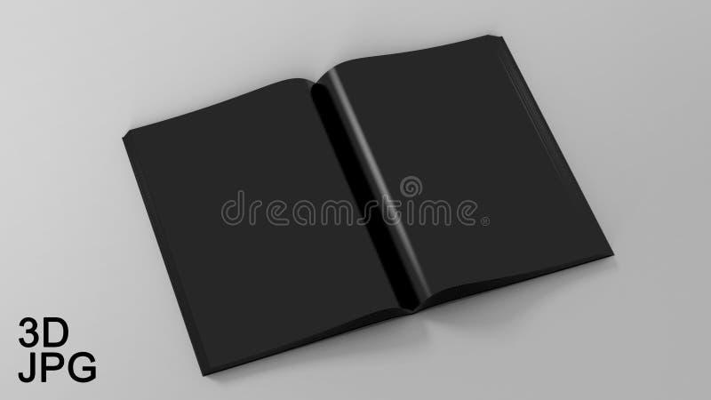 Illustration Blank Black Opened Magazine On White Background. Mock Up Template. royalty free illustration