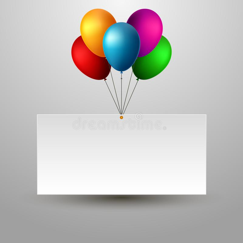 Blank Holiday Birthday Banner with Balloons. royalty free illustration