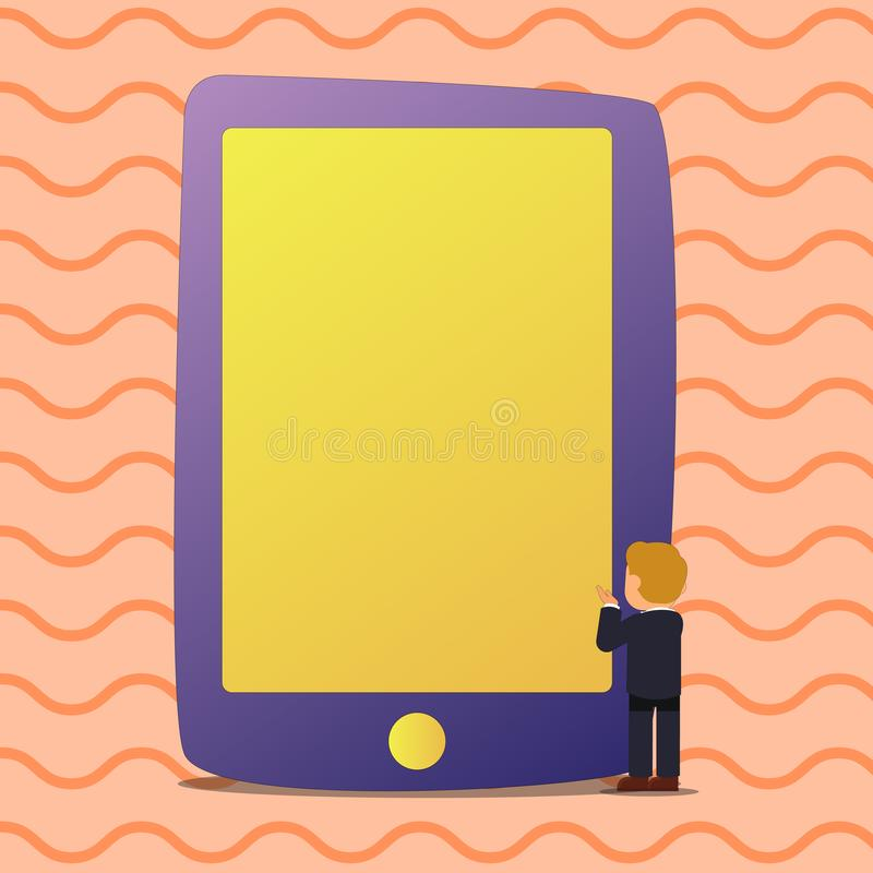 Illustration of Blank Solid Color Tablet Larger Than the Businessman Standing. Man in Suit Facing Huge Smartphone Empty stock illustration