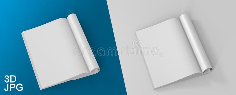 Illustration Blank White Opened Magazine On White Background. Mock Up Template. royalty free illustration