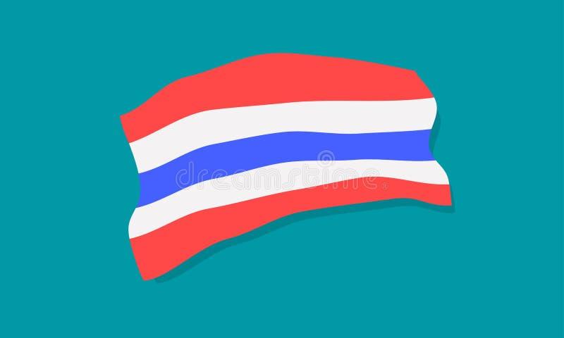 Illustration bleue blanche rouge tricolore eps10 de vecteur de trairong de lanière de drapeau national de la Thaïlande illustration stock