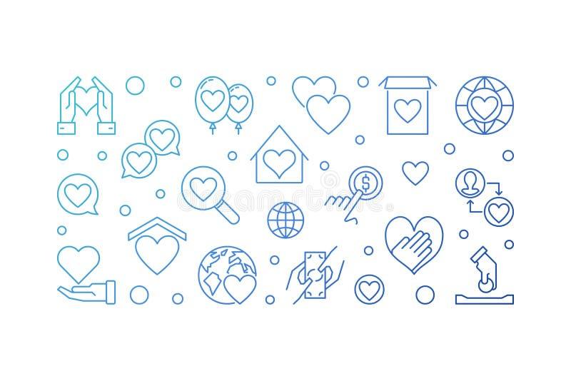 Illustration bleue d'ensemble de charité et de donation Drapeau de vecteur illustration libre de droits