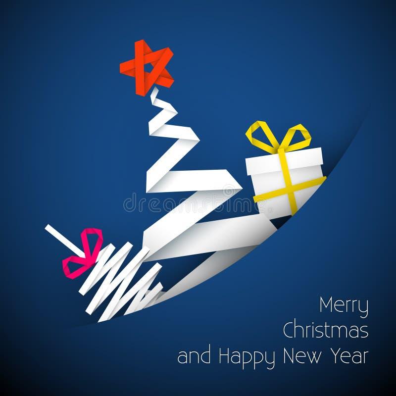 Illustration bleue de carte de Noël de vecteur simple illustration libre de droits