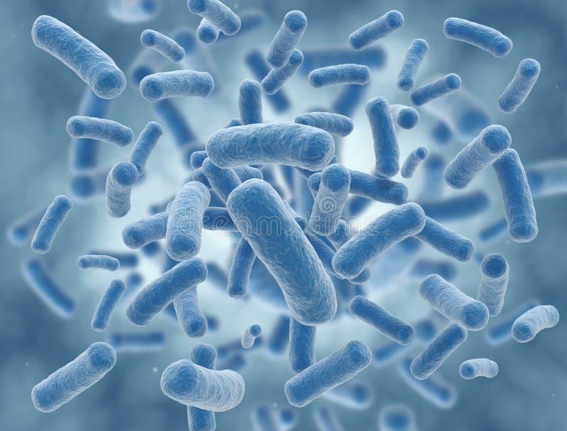 Illustration bleue de la science de cellules de bactéries illustration libre de droits