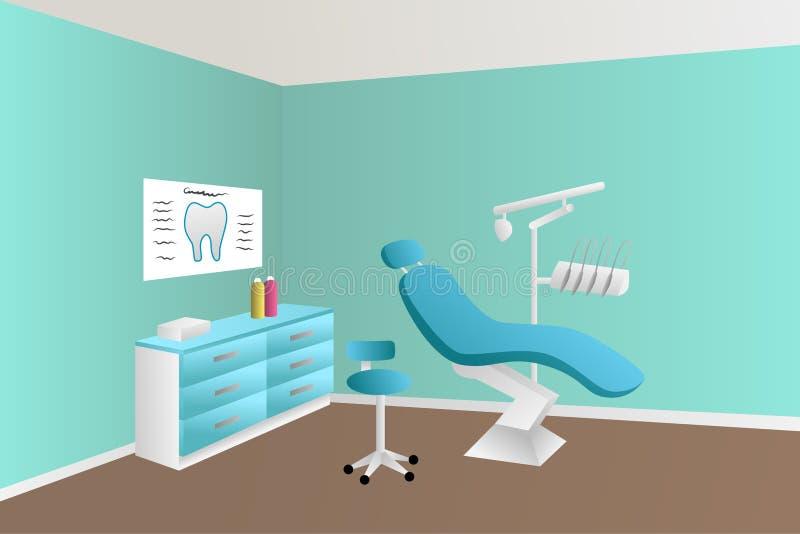 Illustration bleue de pièce de clinique de bureau de dentiste illustration libre de droits