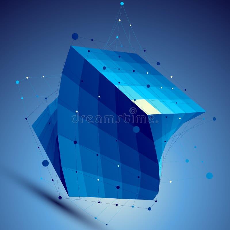 Illustration bleue de technologie d'abrégé sur le vecteur 3D illustration stock