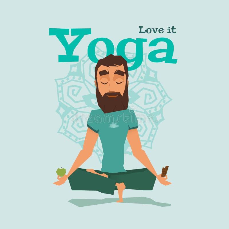 Illustration bleue de vecteur de compétence de pose de yoga illustration stock