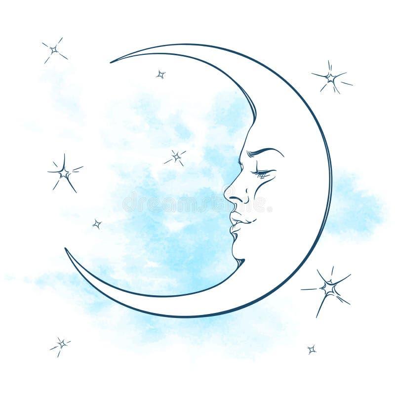 Illustration bleue de vecteur de croissant de lune et d'étoiles illustration stock