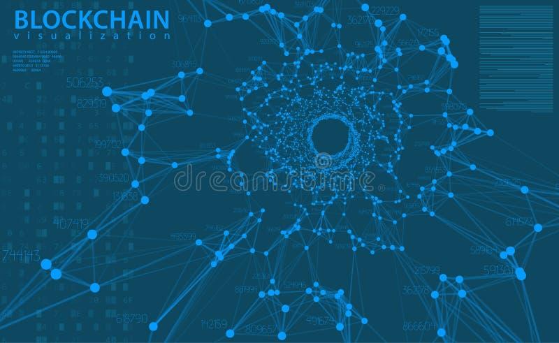 Illustration bleue de vecteur de fond de grandes données L'information coule la visualisation centrale Technologie numérique Info illustration de vecteur