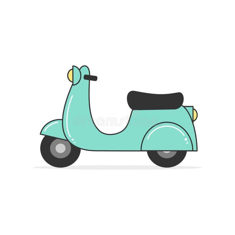 Illustration bleue de vecteur de moto de scooter de bande dessinée mignonne d'isolement sur le fond blanc illustration de vecteur