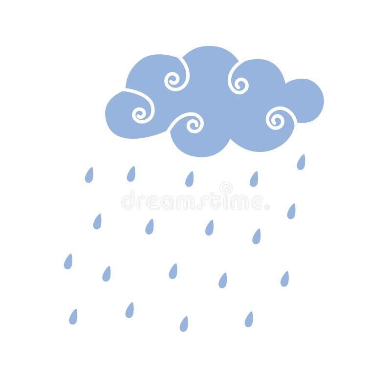 Illustration bleue de vecteur de nuage de pluie illustration de vecteur