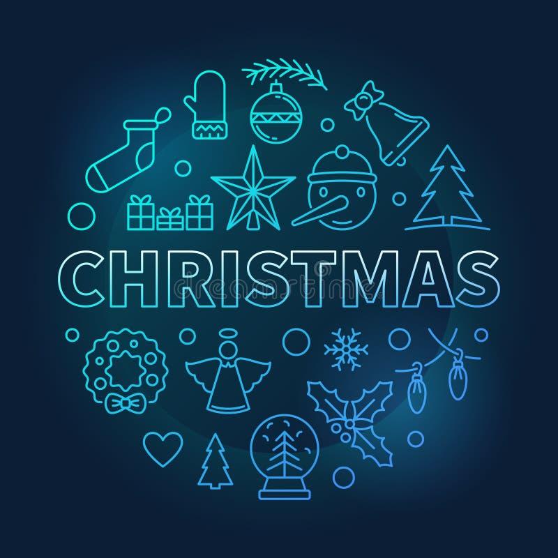 Illustration bleue de vecteur rond de Noël faite avec des icônes de Noël illustration stock