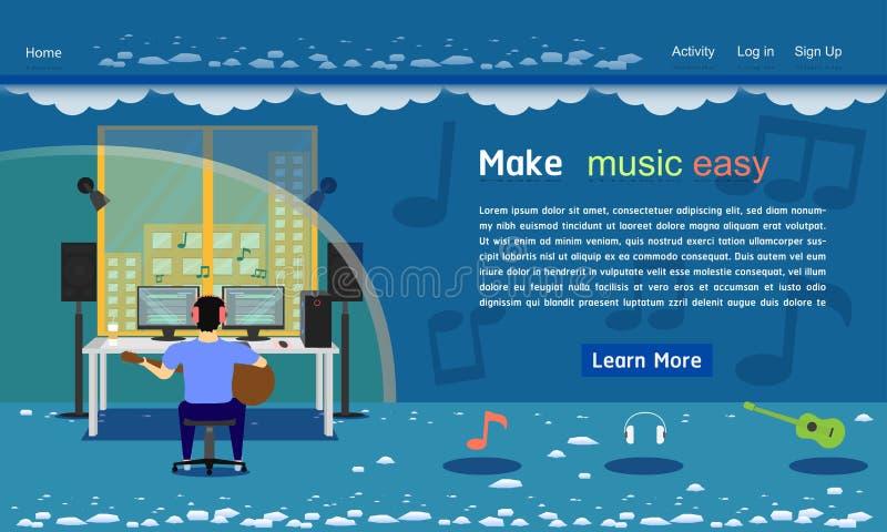 Illustration bleue eps10 de vecteur de ton de calibre de site Web de studio de musique illustration stock