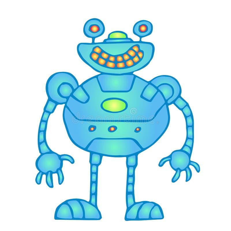 Illustration bleue globulaire gaie de vecteur de robot illustration de vecteur