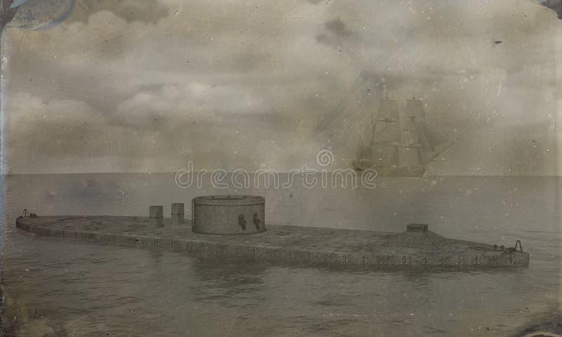 Illustration blindée de moniteur de photo de guerre civile illustration de vecteur